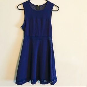 Express Navy Blue Fit and Flare Dress